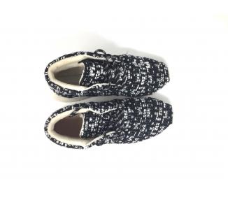 boots en laine noire&blanc